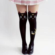 21f9e2b0eb7b5e Anime Sailor Moon Print Stocking Cosplay Costume Women Luna Cat Funky Stocking  Pantyhose Silk Tights Stockings