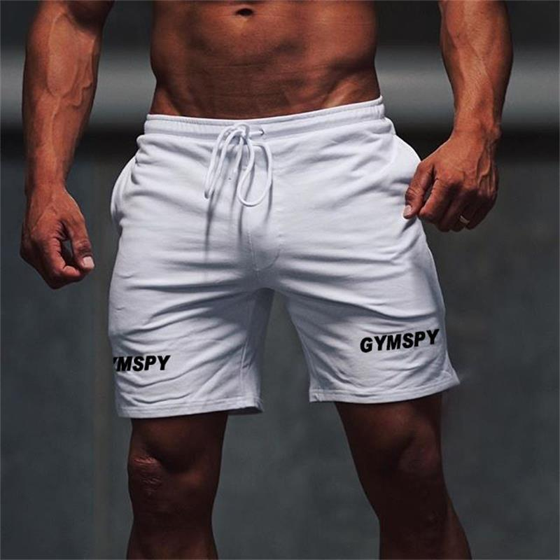 Cool Mens Running Sports Casual Shorts GYMSPY Letter Print Breathable Trousers Running Gym Training Black White Casual Shorts