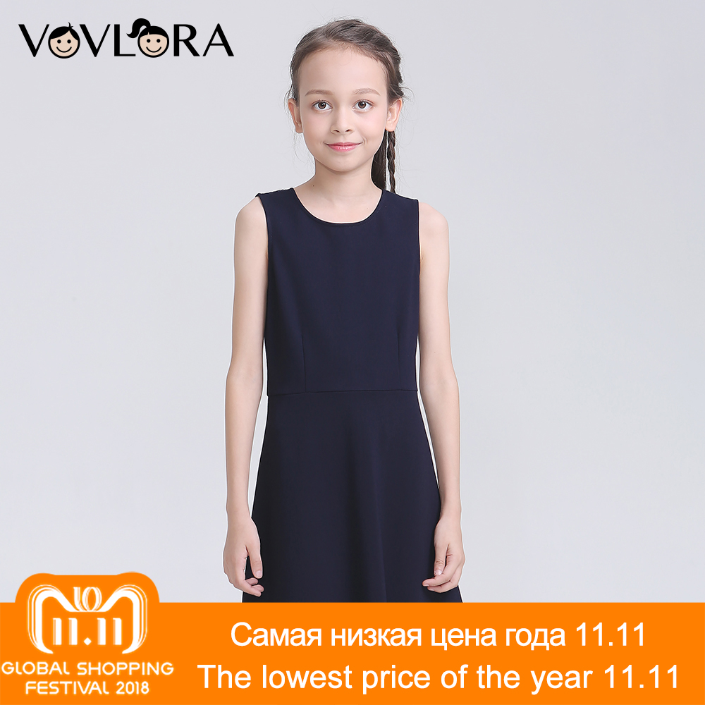 Sleeveless O Neck School Kids Dresses For Girls Solid Lace Knitted Girls Dress 2018 School Uniform Size 7 8 9 10 11 12 Years simple style sleeveless plunging neck see through solid color dress for women