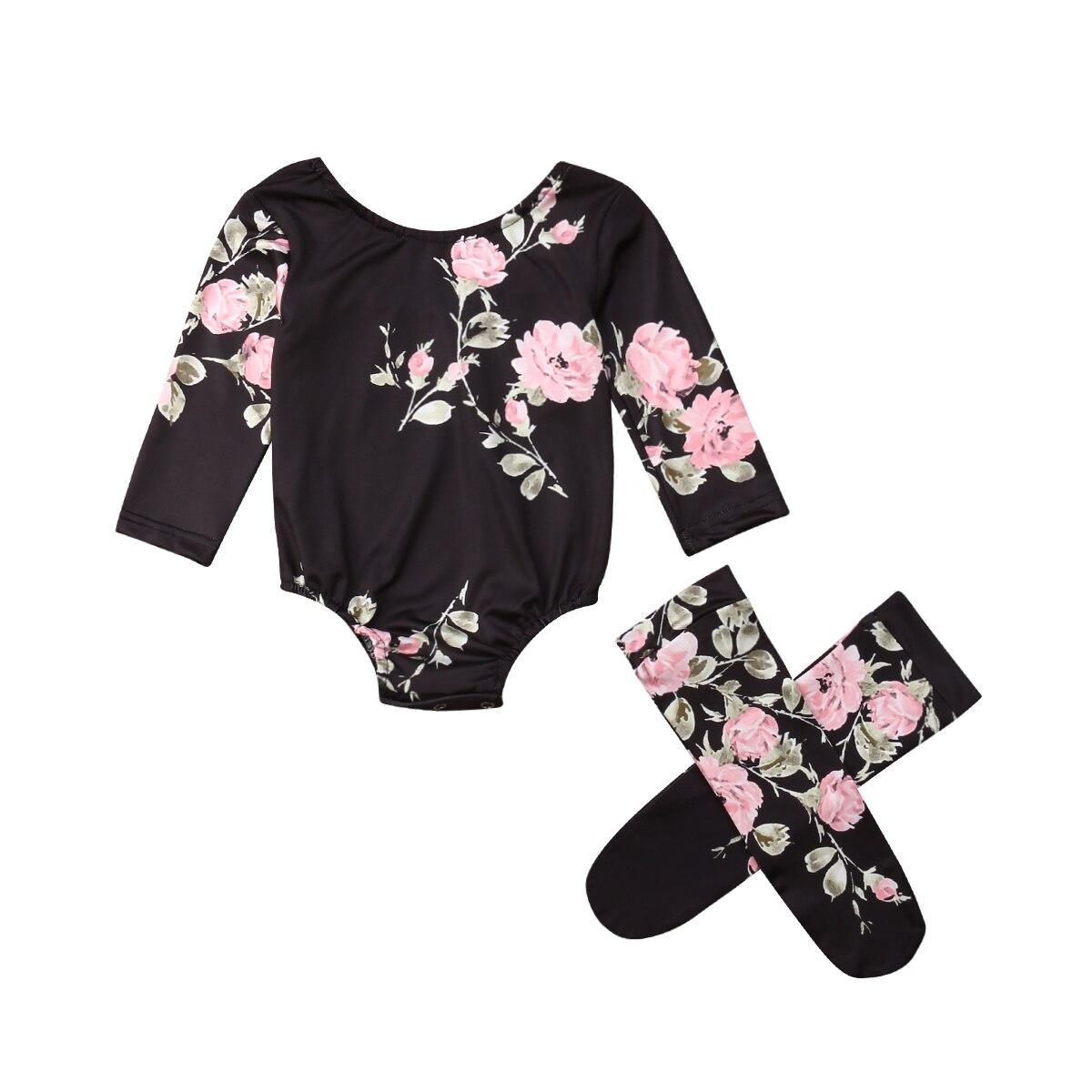 Милый комбинезон с длинными рукавами и цветочным принтом для новорожденных девочек 0-18 месяцев, комбинезон, гетры, 2 предмета, одежда для мал...
