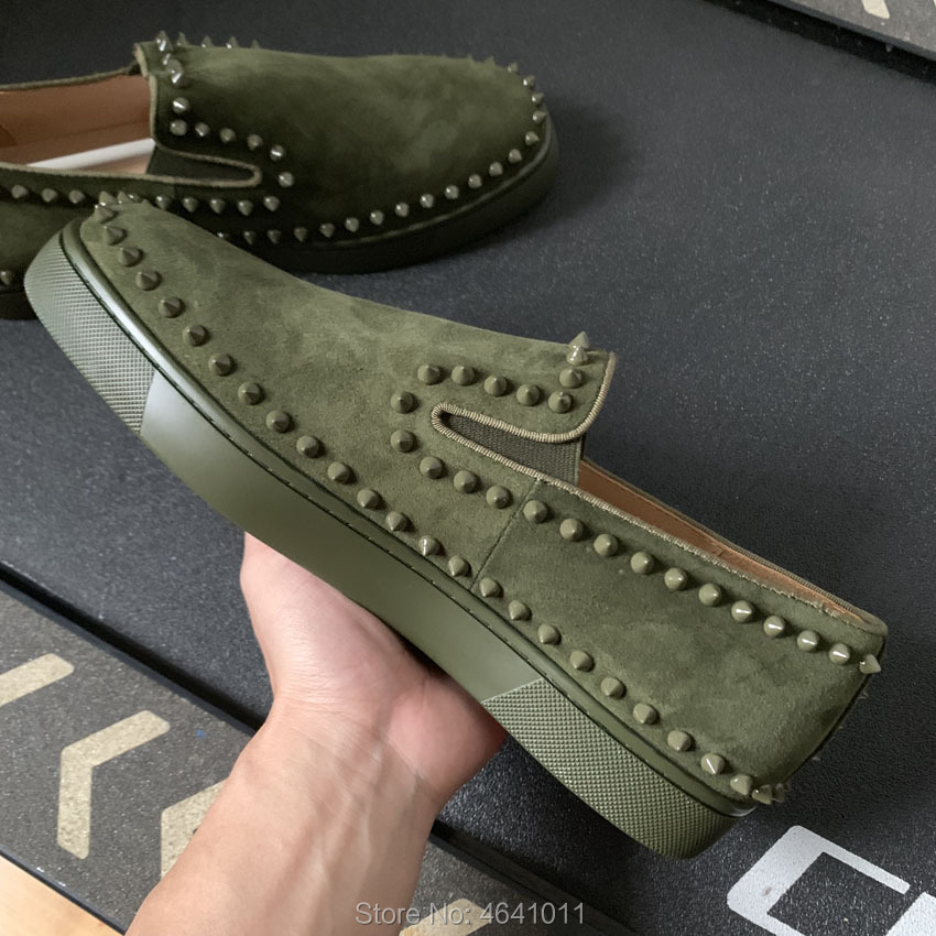 Les Sur Andgz Plein Armée Hommes Slip Cut Pour Décontracté Cuir Fond Plats Loisirs Mocassins Low Chaussures Green Vert En Cercle Rivets Rouge Sneakers Army Cl BedCxo