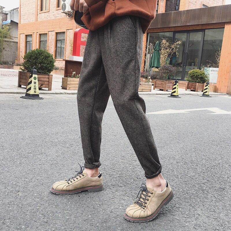 2019 Spring Harajuku Retro Men's Plaid Trousers Woolen Material Ankle Pants Pure Color England Pants Black Brown M-2XL