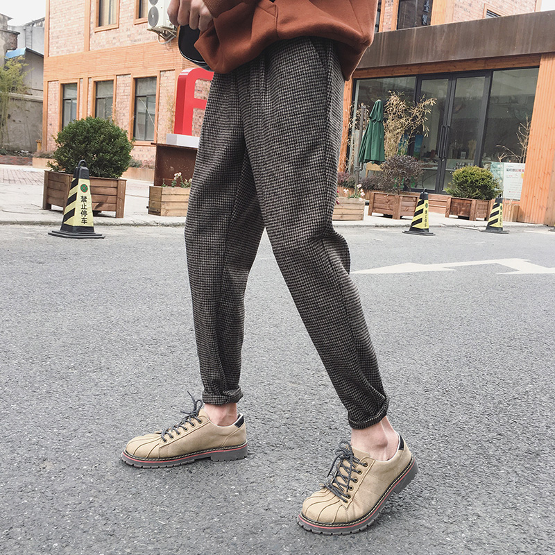 2019 Spring Harajuku Retro Men's Plaid Trousers Woolen Material Ankle Pants Pure Color England Pants Black Brown M-2XL