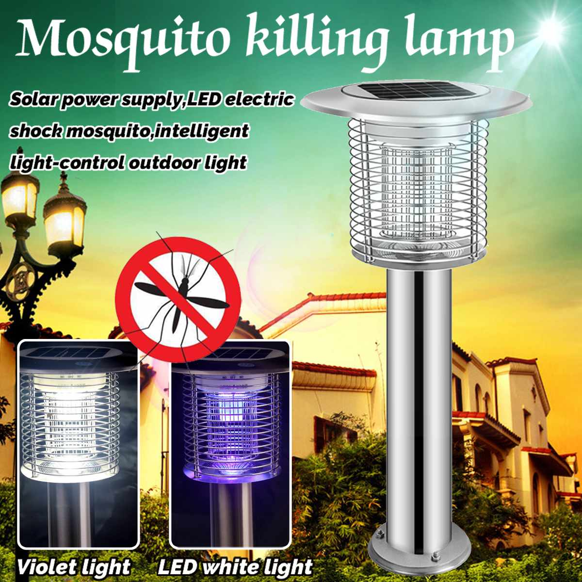 Solar Violet LED Electric Shock Mosquito Double Optical Frequency Light-control Automatic Induction Intelligent Outdoor LampSolar Violet LED Electric Shock Mosquito Double Optical Frequency Light-control Automatic Induction Intelligent Outdoor Lamp