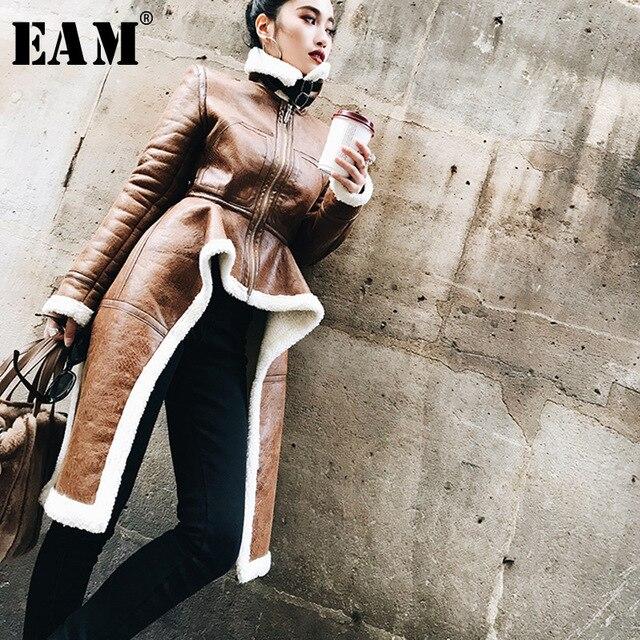 [EAM] 2019 Spring Woman New Brown Color Long Sleeve Zipper Stand Collar Imitation Lambwool Spliced Irregular Coat LE090