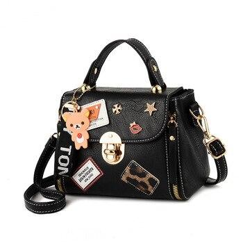 3f7dc13a8d3d Высокое качество Молодежные девочки черная кожаная сумка новая сумка через плечо  женская сумка-тоут сумка через плечо большие сумки с верх.