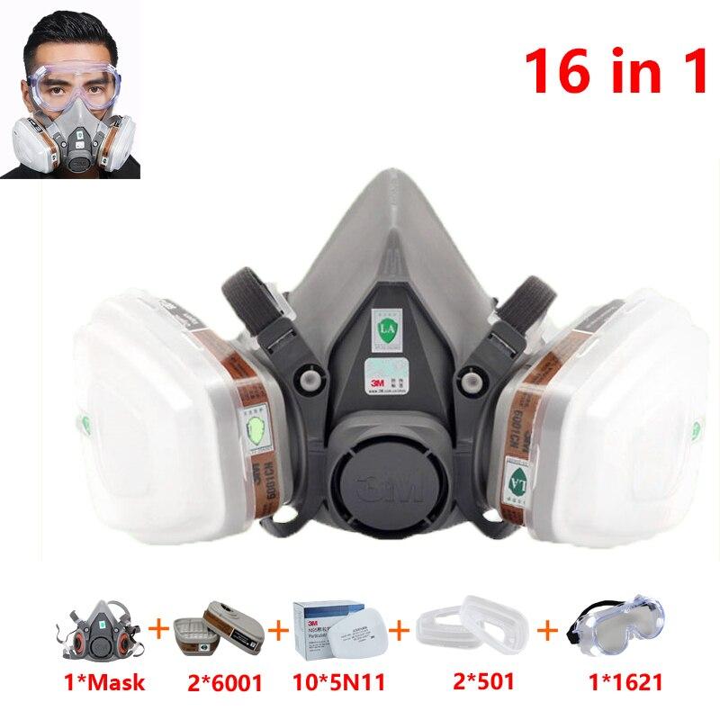 16 En 1 Traje 3 M 6200 Medio Rostro Pintura Spray Respirador Gas Máscara Seguridad Trabajo Filtro Polvo Máscara 6001 Filtro 1621 Gafas