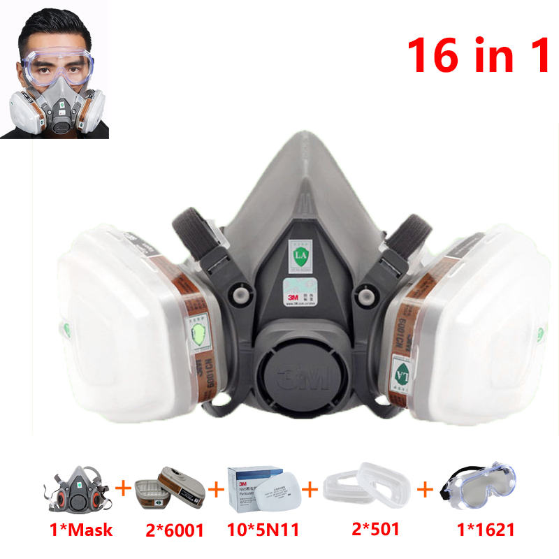 16 In 1Suit 3M 6200 Half Face Painting Spraying Respirator Gas Mask Safety Work Filter Dust Mask 6001 Filter 1621 Goggles