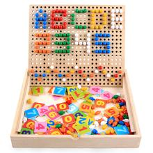 Wooden Mushrooms Nail Mosaic Image Number Cards Hand-eye Coordination Montessori Mathematical Educational Toys for Children Kids