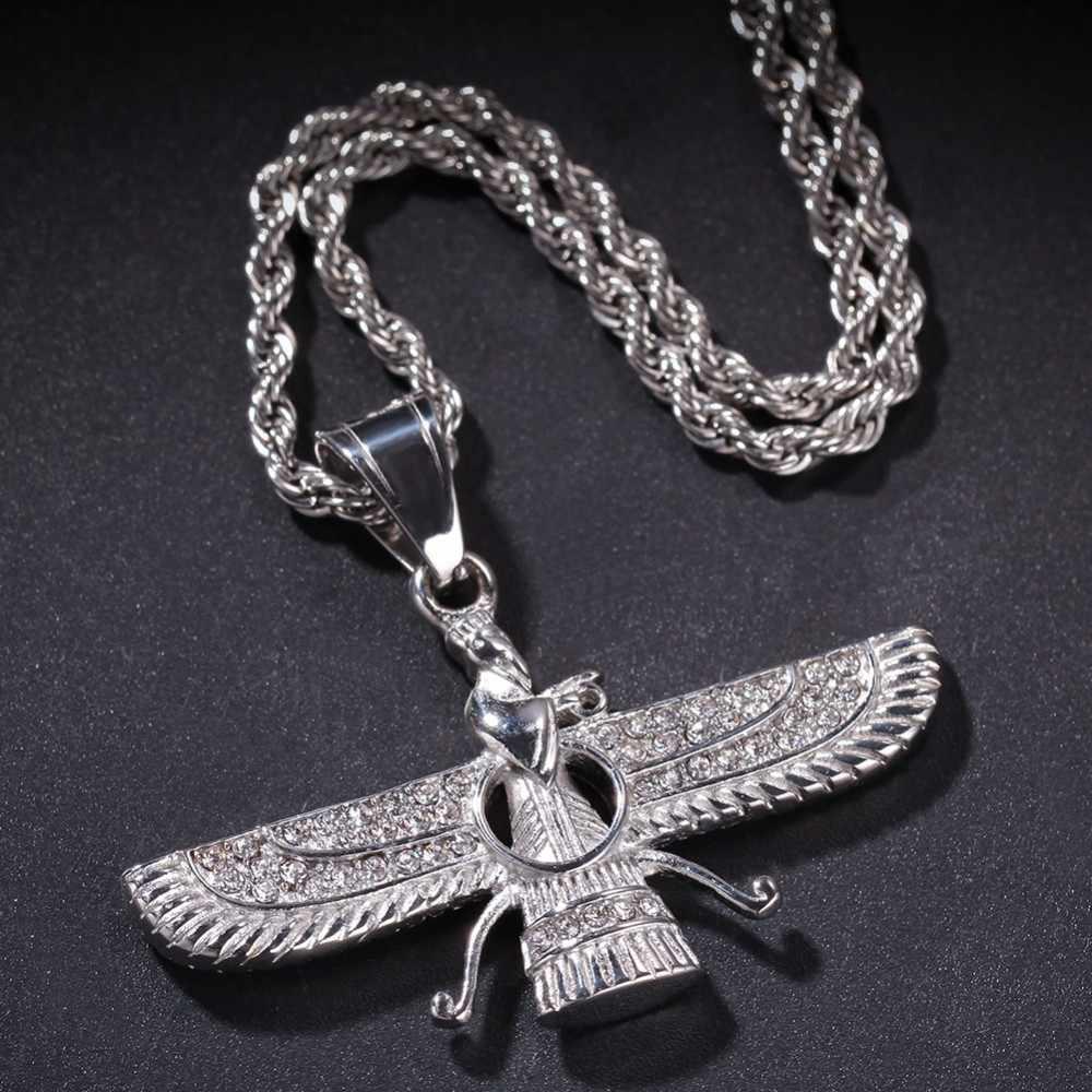 UWIN moda łańcuchy faraon ze skrzydłami naszyjnik ze stali nierdzewnej złoty kolor Vintage egipski wisiorki dla mężczyzn Hiphop biżuteria