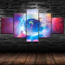 5 Panel HD Print Painting Astronauts Separated Outer Space Picture Cuadros Landscape Canvas Wall Art Home Decor For Living Room