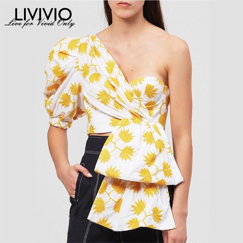 [LIVIVIO] Off Shoulder Top Shirt Women Clothes 2019 Summer Blouse Streetwear Ladies Korean Fashion Clothing Cold Shoulder Tops