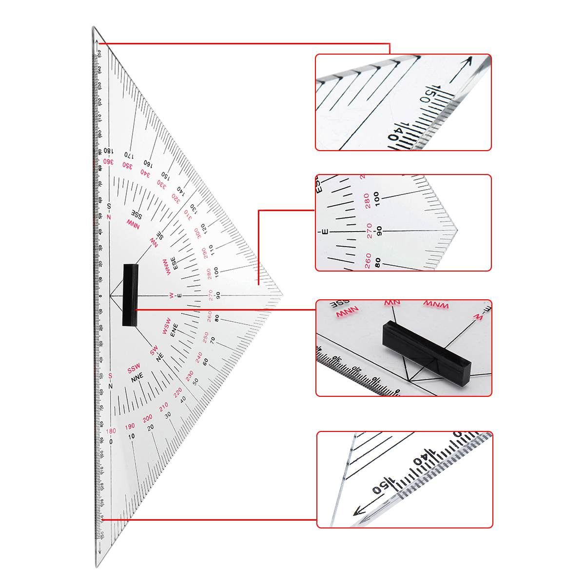 Nautical Chart Divider Measurement Tools 2X Navigation Triangular Protractor
