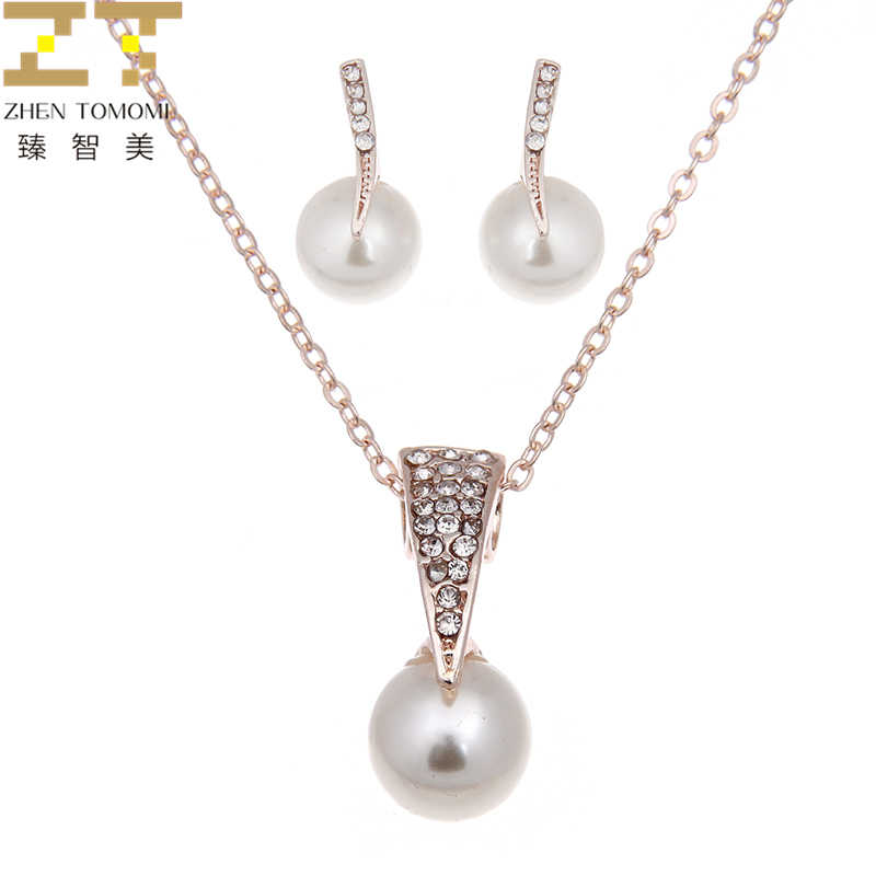 2019 Fashion Wholesale Alloy Rhinestone Simulation Pearl Pendants Necklace / Stud Earrings For Women Bride Wedding Jewelry Sets