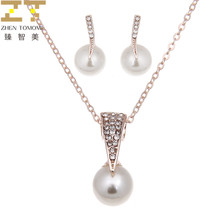 2018 Fashion Wholesale Alloy Rhinestone Simulation Pearl Pendants Necklace / Stud Earrings For Women Bride Wedding Jewelry Sets(China)