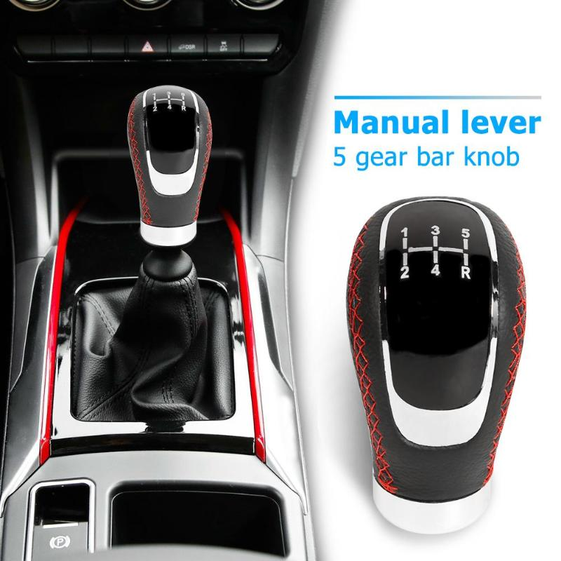 Shift Knob Car Universal Manual Carbon Fiber Knob Gear Shift Head Shifter Black 6 Speed Black with blue line