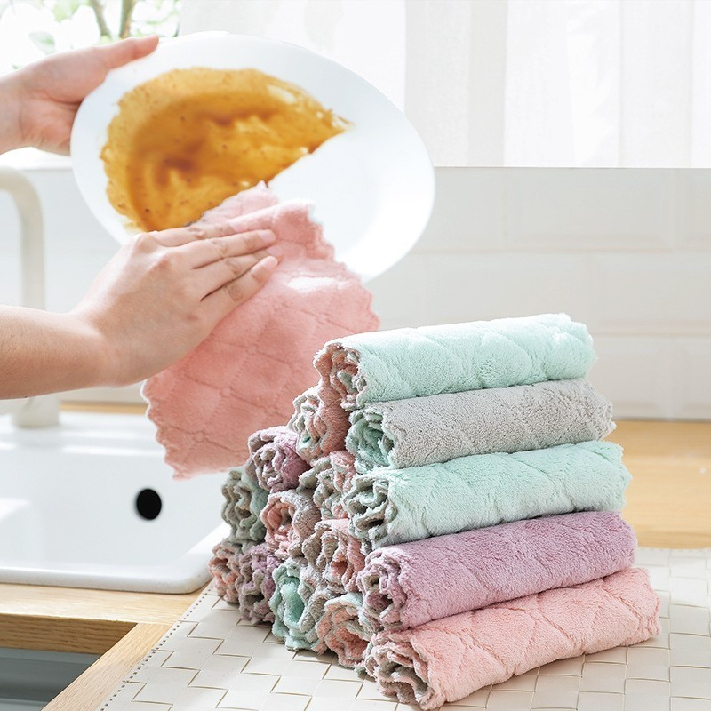 1pc Household Soft Thick Dish Towel Double Sided Microfiber Cleaning Cloth Super Absorbent Kitchen Dish Bowl Washing Cloth Rag(China)