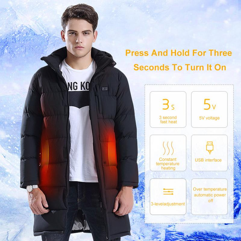 2019 Hot Jacket Men Winter USB Heating Jacket Waterproof Coat Skiing Clothes Parka Warm Cotton Jacket Long Hooded Heating Suit