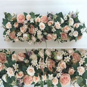 Image 3 - 1M Road cited artificial flowers row wedding decor flower wall arched door shop Flower Row Window T station Christmas Flores