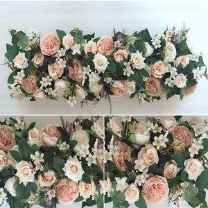 Image 3 - 1M Weg Aangehaald Kunstbloemen Rij Wedding Decor Bloem Muur Gebogen Deur Winkel Bloem Rij Venster T Station Kerst flores