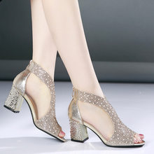 Women sandals high heel summer shoes lace breathable crystal sandals women cover heel sexy sandals for female(China)