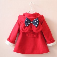 girls coat autumn Red Hooded Girls Jackets outerwear bow children spring jackets boutiques toddler baby outift