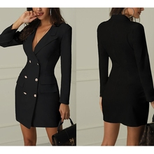 Fashion Womens V Neck Double Breasted Gold Button Front Black Military Style OL Blazer