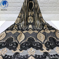 BEAUTIFICAL black french lace fabric sequins net lace 5 yards embroidery sequins african french net ML5N331