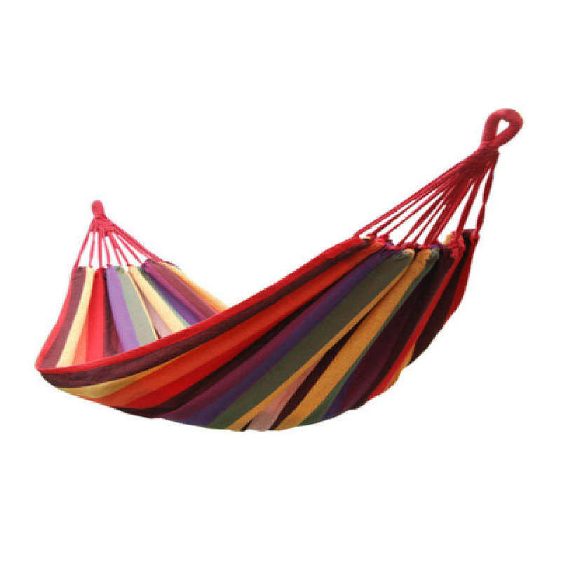 Beach Tourism Double Person Canvas Stripe Hammock 190 X 150cm Portable Outdoor Leisure Camping Hammock With Rope And Bag Camping & Hiking