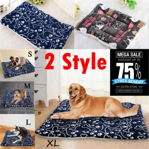 7a75b79b2c64 Soft Flannel Dog Bed Mat Pet Washable House Blanket Large Dog Bed Cushion  Mattress Kennel Soft