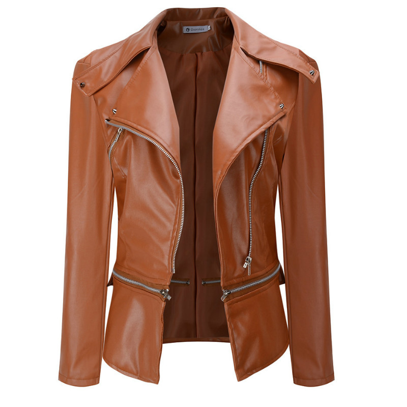 2019 spring new women's fashion stitching locomotive   leather   jacket jacket zipper two wearing ladies   leather