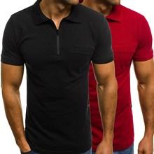 Homens Moda Turn-down Collar Zíper Tee de Manga Curta Camisa Pólo Cor  Sólida Topo 2b22539d310da