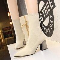 Модные женские носки, сапоги на высоком каблуке, ботильоны, зимние сапоги без шнуровки, женская обувь, носки, сапоги, черный/красный цвет