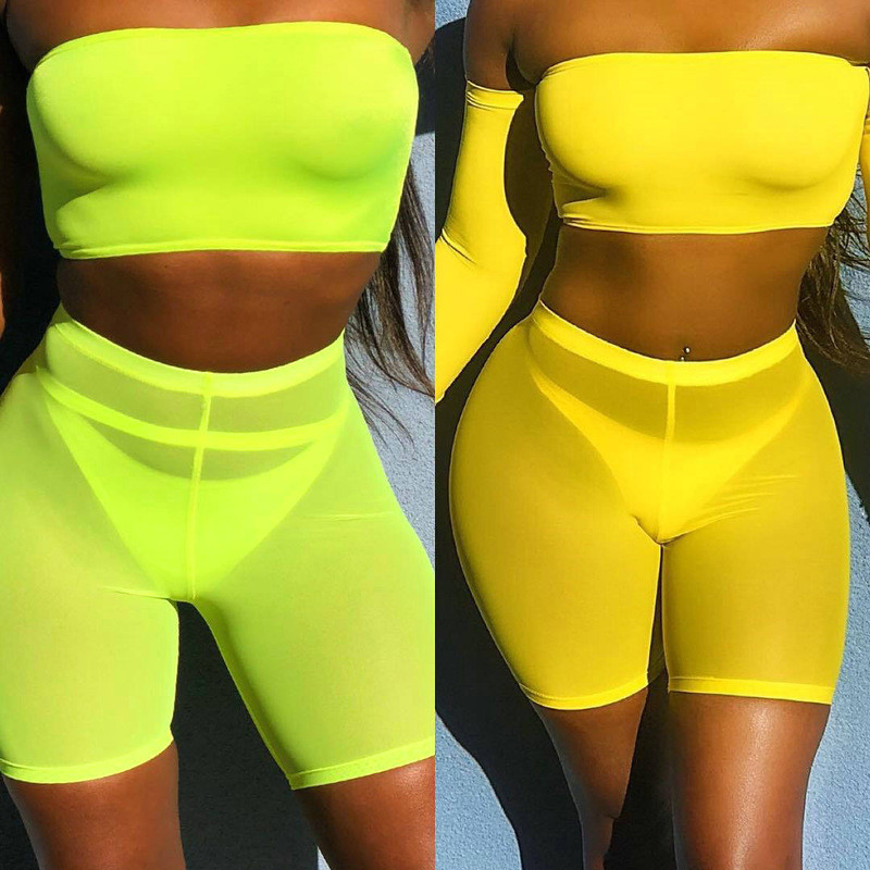 OMSJ 2019 Summer Fashion Yellow Mesh Transaparent Sexy Women Casual Shorts Ladies High Waist Shorts Summer Shorts Sexy Shorts