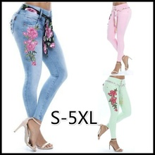 3 Colors Womens Fashion Plus Size Low Waist Sexy Floral Print Skinny Jeans Casual Elastic Denim Long Trousers Bottoms S-5XL