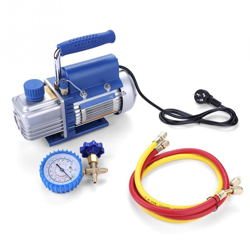 G1 4 220V 150W Vacuum Pump for Air Conditioning Refrigerator with Pressure Gauge Tube Random Hose