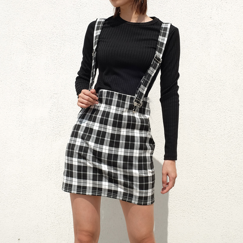 Women Sexy Suspender Skirt Plaid High Waist Spaghetti Strap Overalls Tartan School Girl Mini Skirt Checkerboard Harajuku College