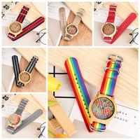 Reloj Unisex con diseño de corcho a rayas, Retro, colorido, de madera, bandera Reloj para Hombre, Color nailon, Reloj para Hombre, Reloj 2020, regalos para hombres