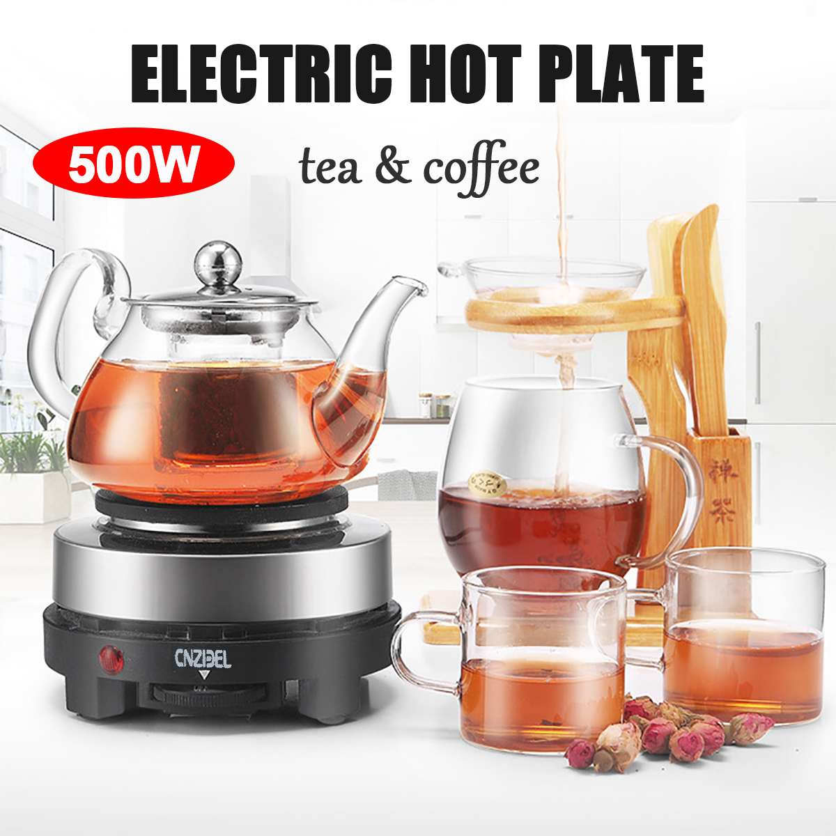 500W Electric Heater Stove Mini Hot Plate Cooker Electrothermal Tea Coffee Milk Heating Furnace Multifunctional Kitchen Applianc