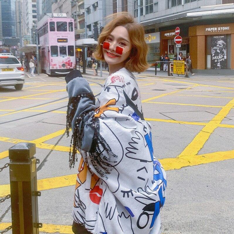 Hd395 2019 White Nouveau Manteau Veste Sequin Printemps cou Glands Blouse Longues O Lâche À Femme Shengpalae Chic Imprimer Manches Femmes HqUHdE