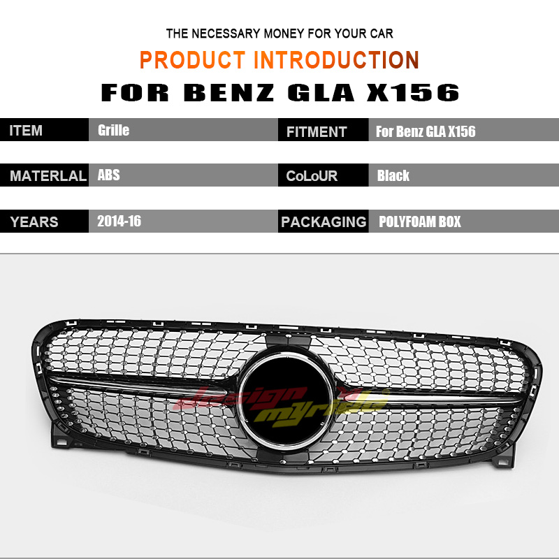 For Mercedes Benz GLA Class X156 Diamonds grille GLA200 GLA250 Black ABS without central logo Diamonds Front Bumper Grille 14 16 in Racing Grills from Automobiles Motorcycles