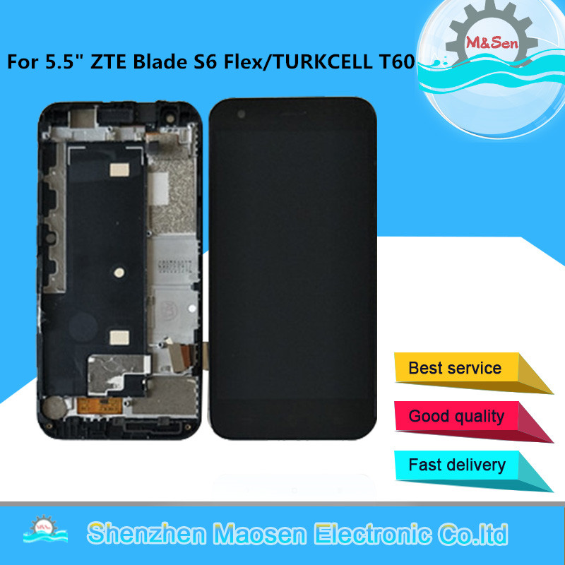 Original M&Sen For 5.5 ZTE Blade S6 Flex/TURKCELL T60 LCD Screen Display+Touch Digitizer With Frame For ZTE TURKCELL T60 Lcd