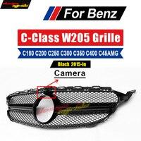 C63 Stil Panamericana Grille Grill Grills Glanz Schwarz W/Kamera Für Mercedw C Klasse W205 C205 Sport Ersatz nicht Fit C63 15 |Rennauto-Kühlergrill|Kraftfahrzeuge und Motorräder -