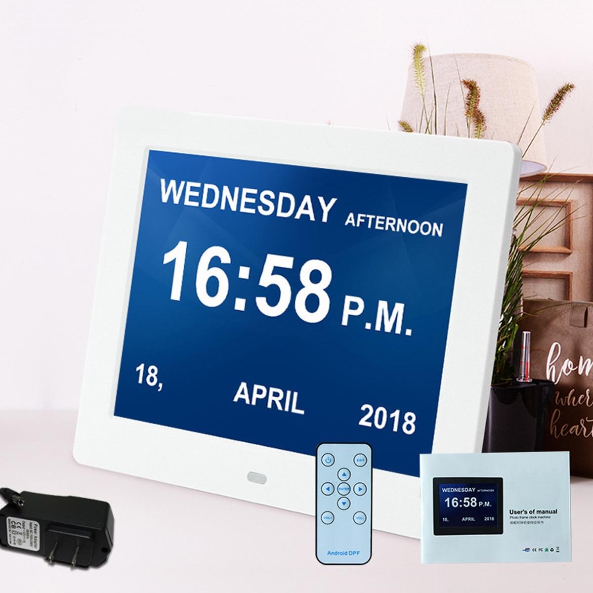 8 ''led Démence Numérique horloge calendrier Alarme Grande Lettre Multimédia + À Distance voyage bureau Horloges