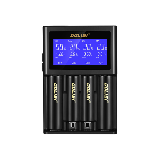 MOCH GOLISI S4 2.0A Intelligent Lcd 18650 Battery Charger For Li Ion Ni Mh Ni Cd Ni Md 26650 20700 Aa Aaa Rechargeable Batteri