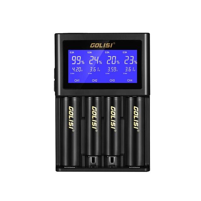 MOCH GOLISI s4 2.0a inteligente lcd 18650 carregador de bateria para li ion ni mh ni cd ni md 26650 20700 aa aaa recarregável batteri