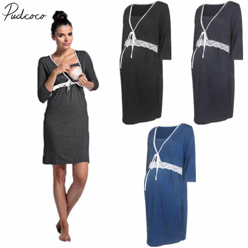 fb41f27df322b 2018 Brand New Pregnant Women Nursing Dress Cotton Maternity Party Gown  Photography Deep V Neck Clothes