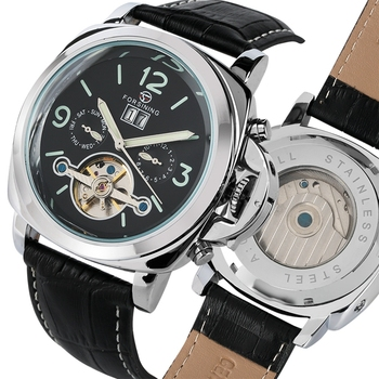 forsining luxury brand men vintage automatic watches male fashion auto date mechanical wristwatches rome dial real leather band Forsining Top Luxury Automatic Men's Watch Mechanical Watch Tourbillon Men Sport Luminous Clock Male Leather Retro Wristwatches