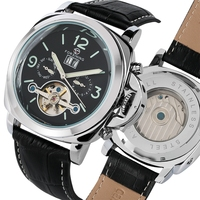Forsining Top Luxus Automatische herren Uhr Mechanische Uhr Tourbillon Männer Sport Leuchtende Uhr Männlichen Leder Retro Armbanduhren-in Mechanische Uhren aus Uhren bei