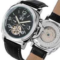 Forsining Top luxe automatique montre pour hommes mécanique montre Tourbillon hommes Sport lumineux horloge mâle en cuir rétro montres
